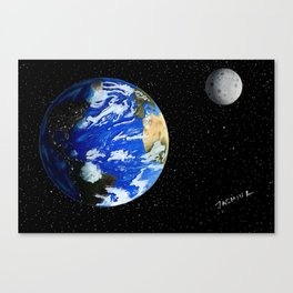 Drawing the Earth and the Moon Canvas Print