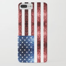 USA flag red & blue sparkles Slim Case iPhone 7 Plus