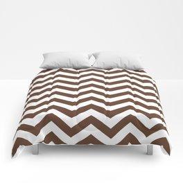 Chocolate Brown Chevron Zig Zag Pattern Comforters
