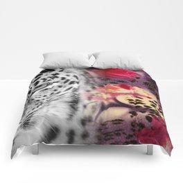 Black & White Leopard & Floral Collage Comforters