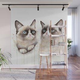 Grumpy Watercolor Cats Wall Mural