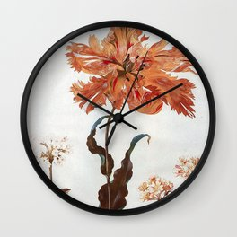 A Parrot Tulip Auriculas & Red Currants with a Magpie Moth Caterpillar Pupa by Maria Sibylla Merian Wall Clock