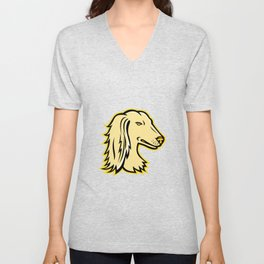 Saluki or Persian Greyhound Mascot Unisex V-Neck