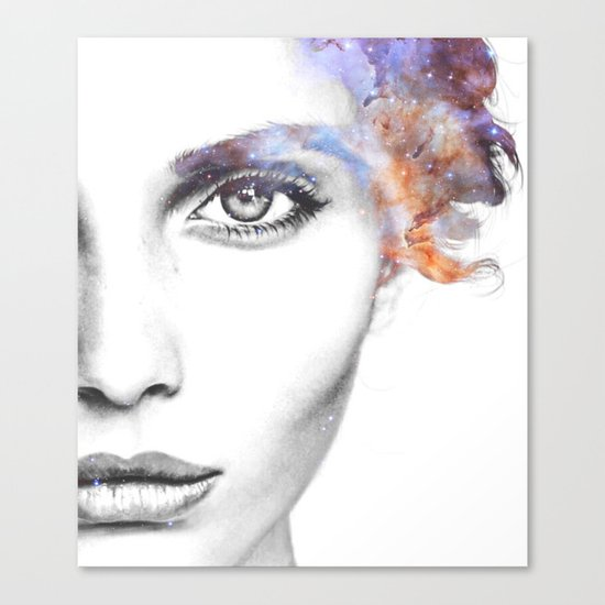 Girl with stars in her hair Canvas Print