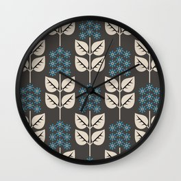 Herbaceous Blue Wall Clock