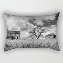 Old House In Field in Black & White Rectangular Pillow