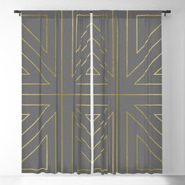 Angled 2 Gold & Grey Blackout Curtain