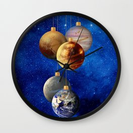 Planetary Christmas Baubles Wall Clock