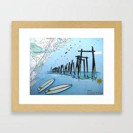 South End Surf - 59th Street Pier Framed Art Print