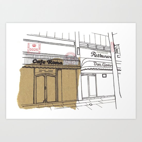 Cafe Roma. Art Print