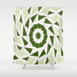 Green White Kaleidoscope Art 3 Shower Curtain