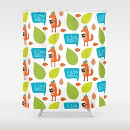Woodland Creatures - Fox Loves Books Pattern Shower Curtain