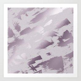 Blush lavender purple abstract glitter brushstrokes Art Print