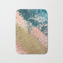 River: a minimal, abstract mixed-media piece in pink, teal and gold Bath Mat
