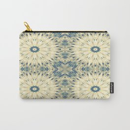 Beige & Teal Crystal Mandala Carry-All Pouch