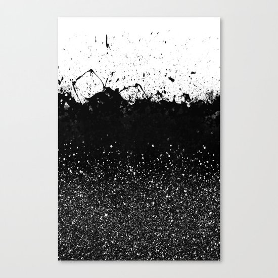 Black and White Splatter Theme Canvas Print