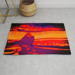 Eye of Tiger Orange - Red - Purple Abstract Vector Texture Rug