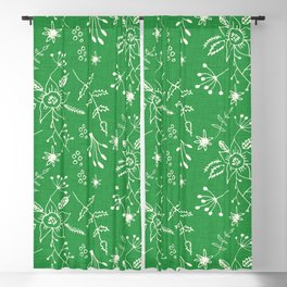 Winter Floral Green Blackout Curtain
