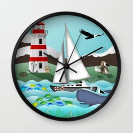 Coastal Sailing - Nautical Landscape Scene Wall Clock