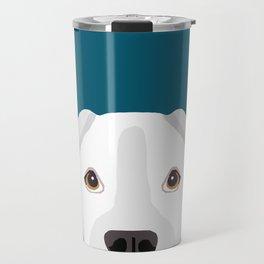 White Boxer pet portrait cute dog lover rescue dog lover Boxers portrait dog breeds Travel Mug