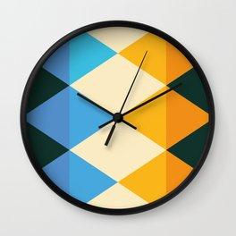 rhomboid echo transformed blue orange Wall Clock