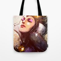 evil queen Tote Bags featuring Evil Queen by Vincent Vernacatola
