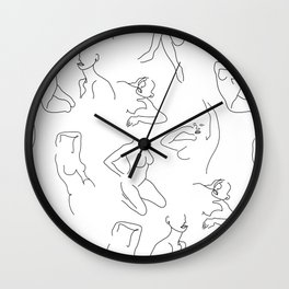 Abstract Woman Drawing Figures Wall Clock
