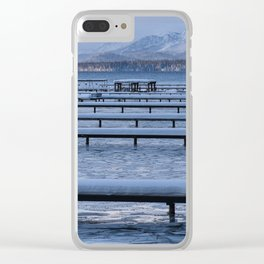 Lake Tahoe Docks Covered in Snow Clear iPhone Case