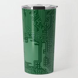 Green Geek Motherboard Circuit Pattern Travel Mug