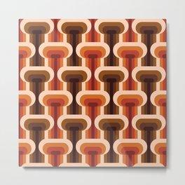 Midcentury modern T design pattern orange & brown on products Metal Print
