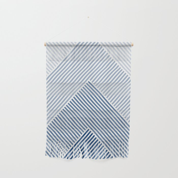 Shades of Blue Abstract geometric pattern Wall Hanging