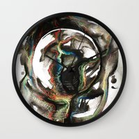 erotic Wall Clocks featuring Erotic Electronic Moon   by Pérola M. Bonfanti