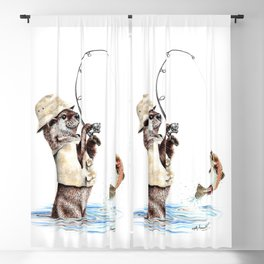 """ Natures Fisherman "" fishing river otter with trout Blackout Curtain"