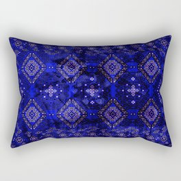 Lovely Royal Blue Oriental Traditional Moroccan Style Design Rectangular Pillow
