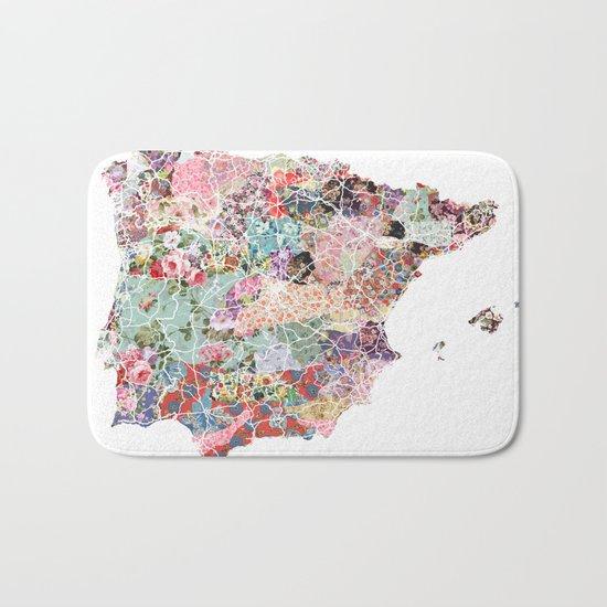 Spain map flowers composition Bath Mat