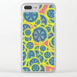Random blue gearwheels Clear iPhone Case