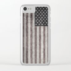 USA flag on hand painted canvas texture Clear iPhone Case