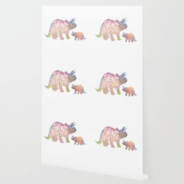Fairytale Pink Castle Copper Glitter Dinosaur Wallpaper
