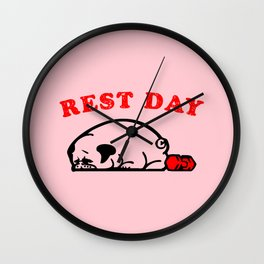 Rest Day Pug Wall Clock