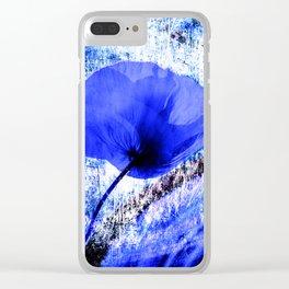 Blau Poppy vintage 222 Clear iPhone Case