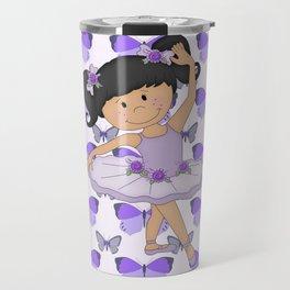 Purple Butterflies and Ballerina Travel Mug