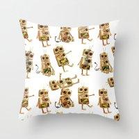 robots Throw Pillows featuring robots by Lara Paulussen