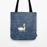 black swan Tote Bags featuring Swan by WonderfulDreamPicture