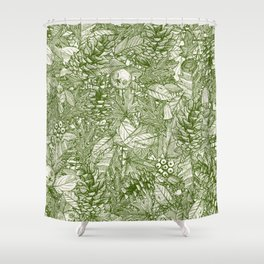 forest floor green ivory Shower Curtain