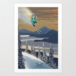 Ski Silver Star Art Print