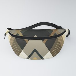 Rustic Black and Gold Geometric Fanny Pack