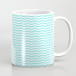Aqua Belle and White Chevron Wave Wavy ZigZag Stripes Coffee Mug