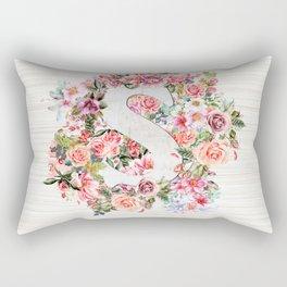 Initial Letter S Watercolor Flower Rectangular Pillow
