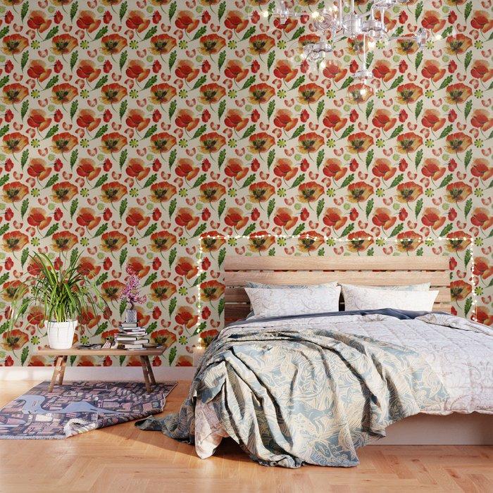 Chic Floral Poppy Flowers Watercolor Pattern Wallpaper