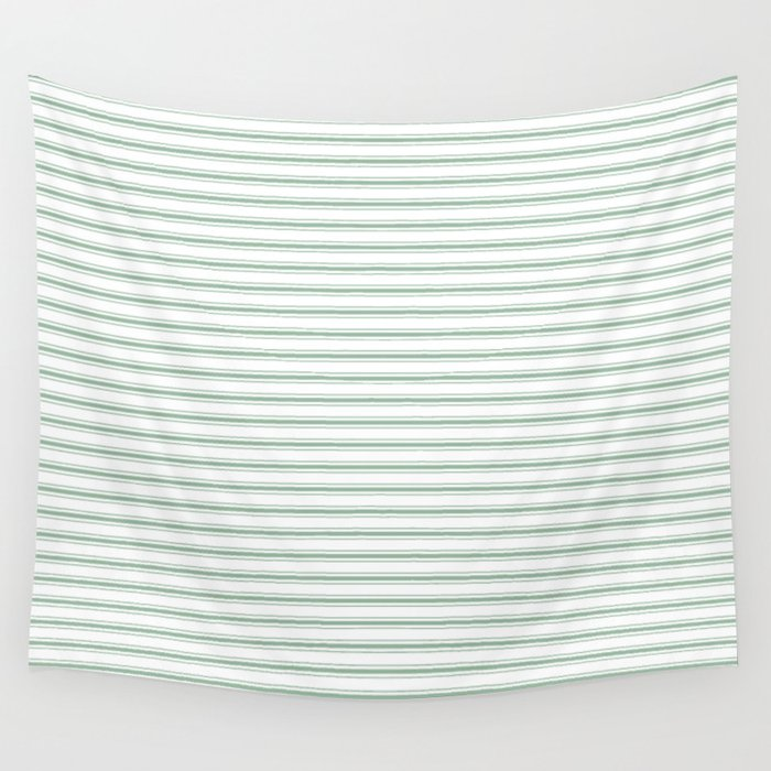 mattress pattern. Mattress Ticking Narrow Horizontal Striped Pattern In Moss Green And White Wall Tapestry C